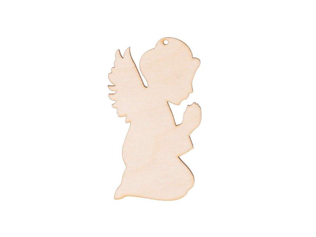 Dřevěný anděl IX s dírkou 8 x 4.5 cm