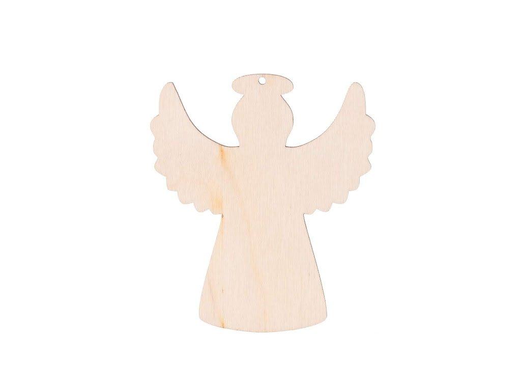Dřevěný anděl s dírkou XII 8 x 7 cm