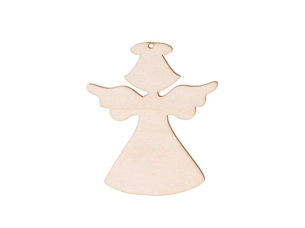 Dřevěný anděl XIV s dírkou 8 x 6 cm