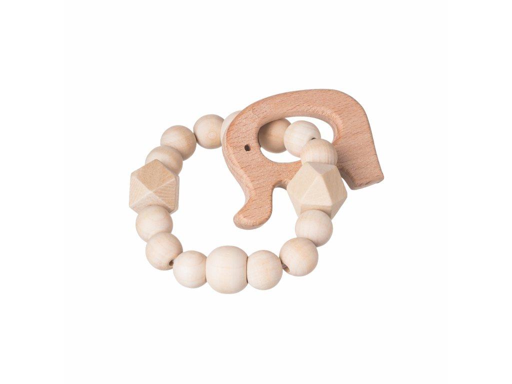 Dřevěné kulaté kousátko přírodní - slon