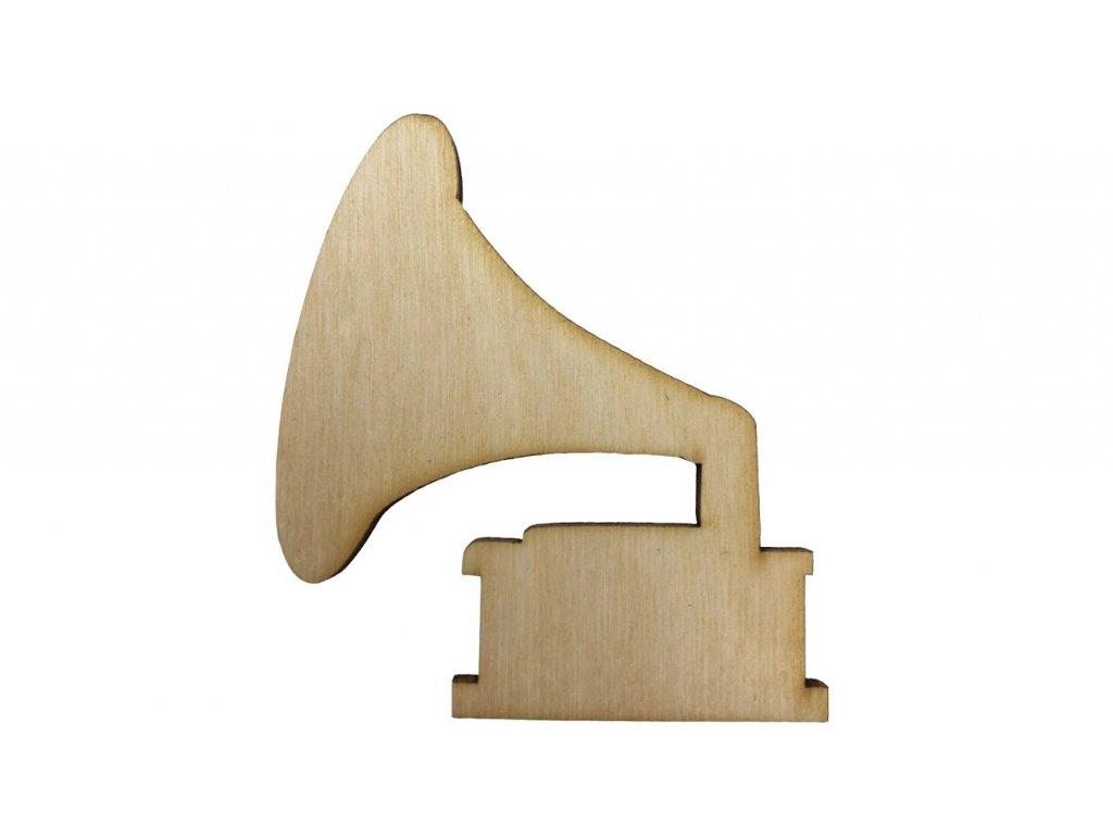 Dřevěný gramofon 7 x 6 cm