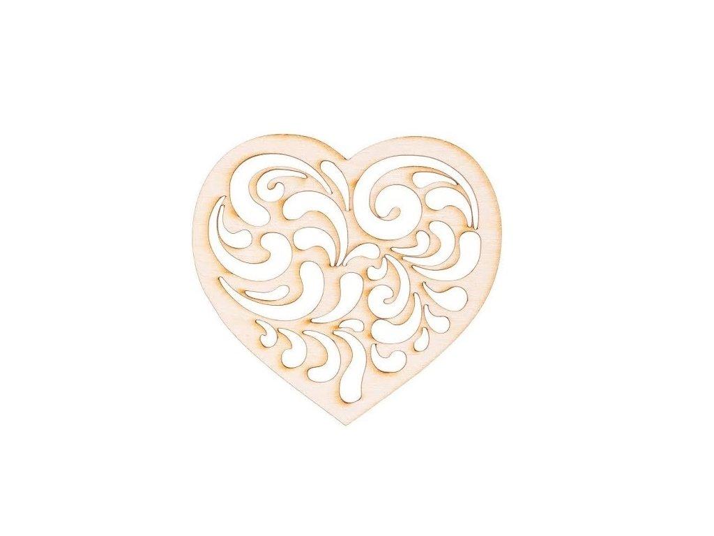 Dřevěné srdce zdobené I