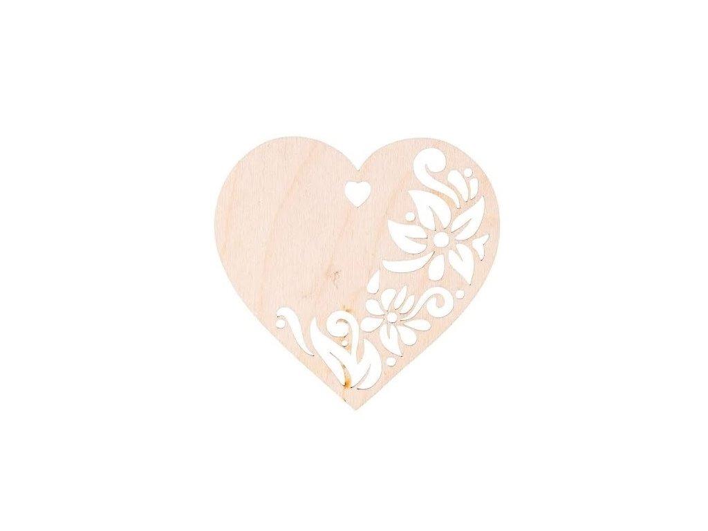 Dřevěné srdce zdobené II