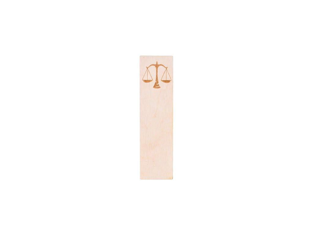 Dřevěná záložka do knihy - znamení Váhy