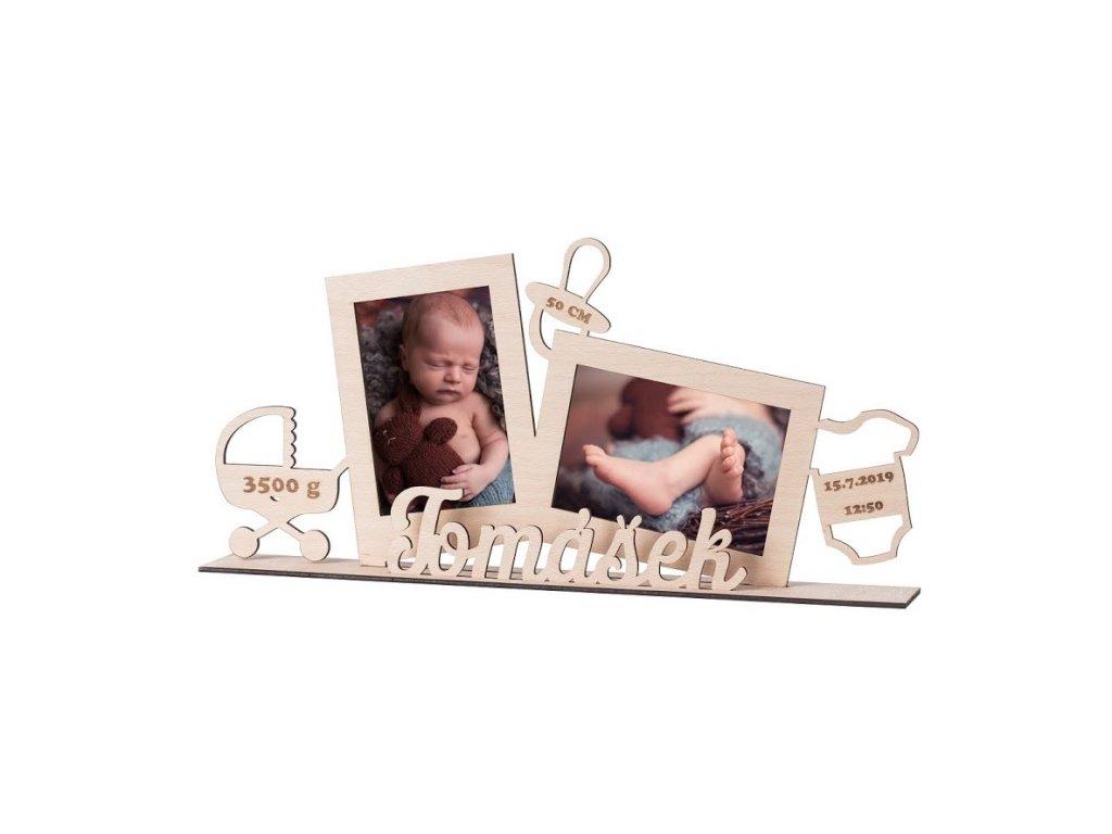 Dřevěný fotorámeček s porodními údaji