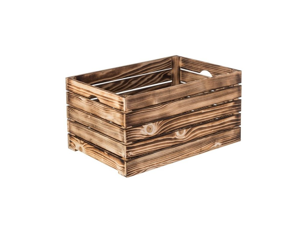 Opálená dřevěná bedýnka 60 x 30 x 30 cm