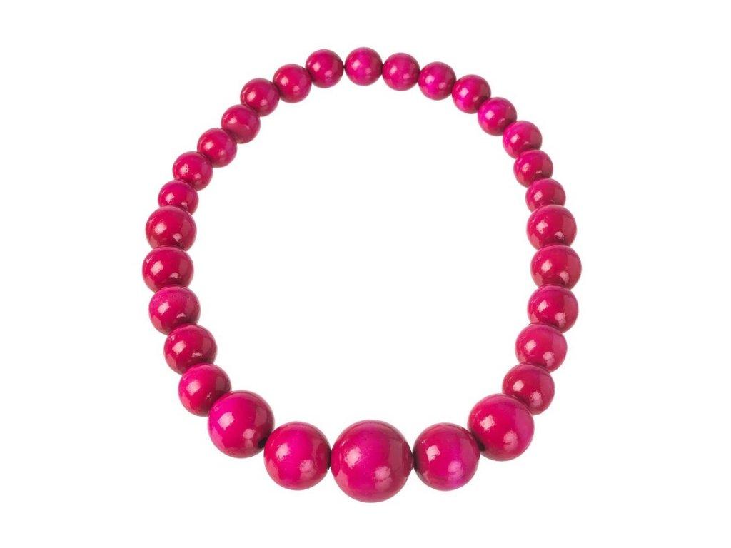 Dřevěný náhrdelník - růžový