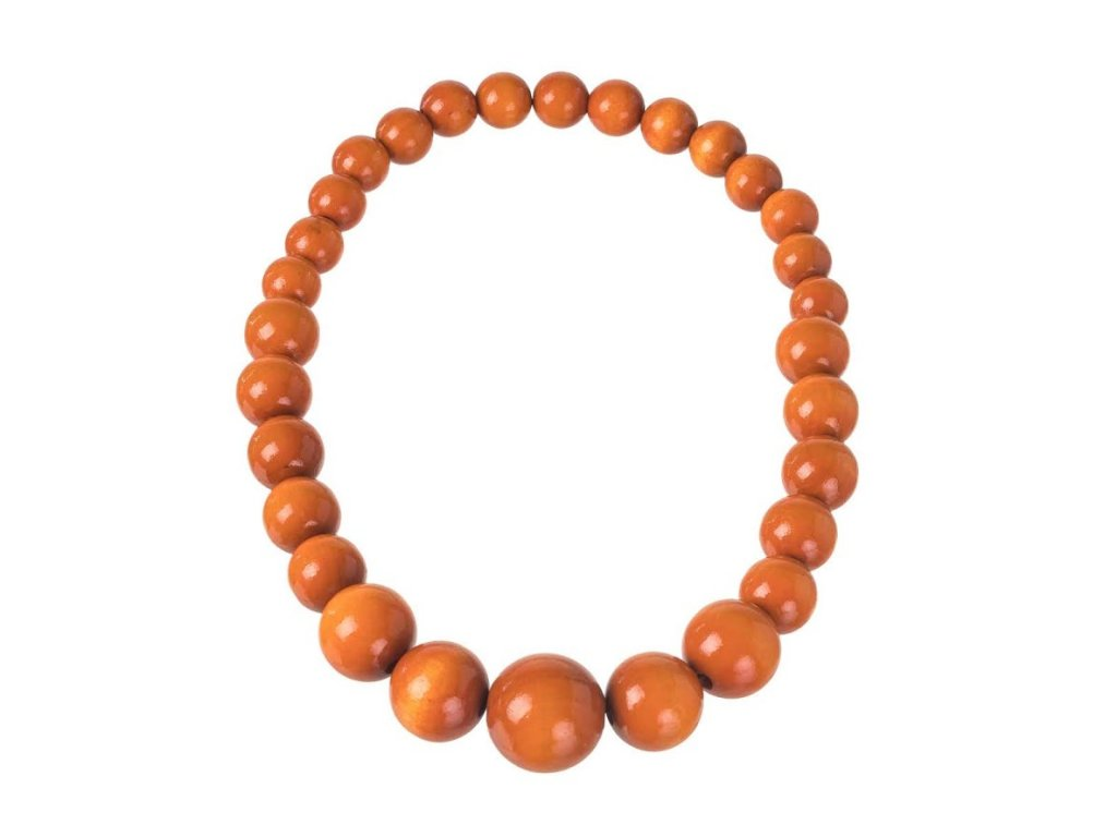 Dřevěný náhrdelník - oranžový