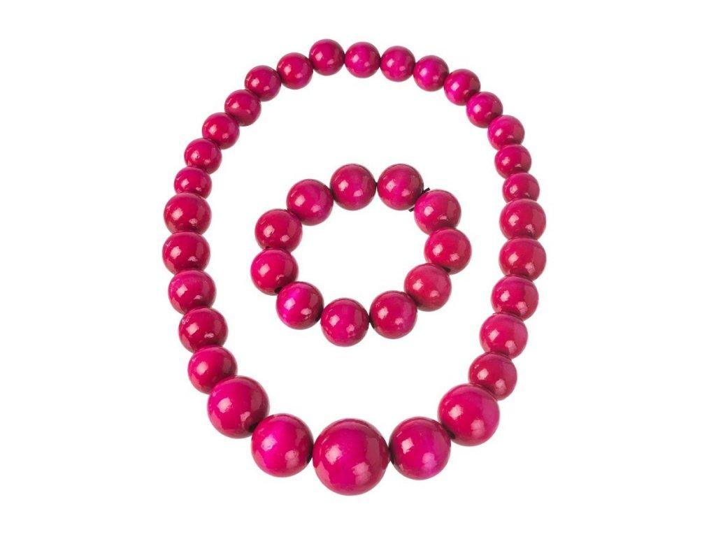 Růžový náhrdelník s náramkem