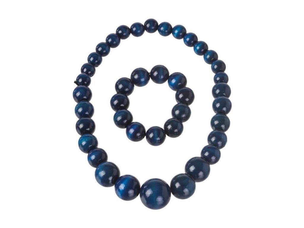 Modrý náhrdelník s náramkem