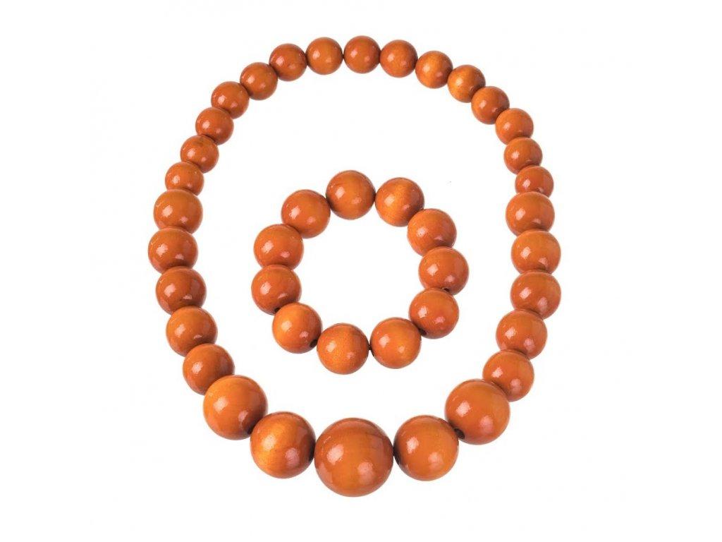 Oranžový náhrdelník s náramkem
