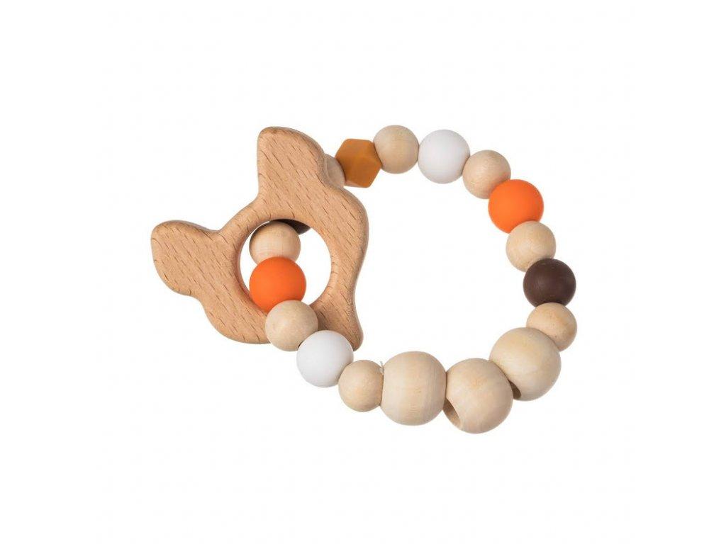 Dřevěné kulaté kousátko oranžové - liška