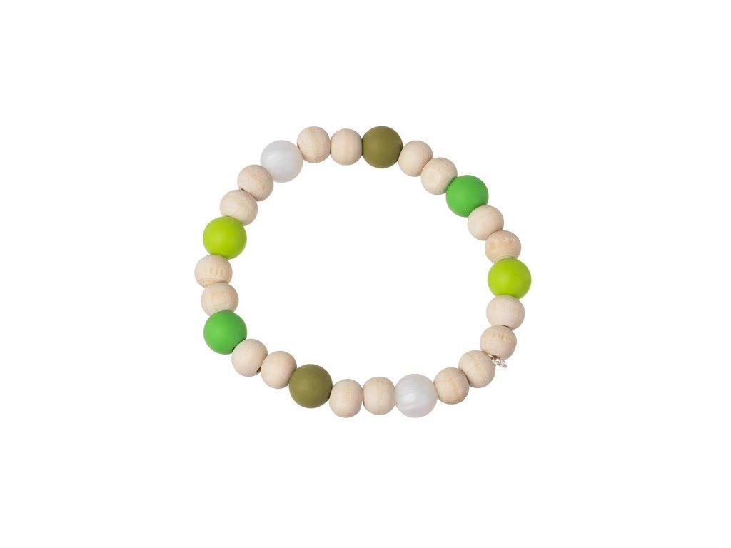 Korálkový náramek - zelený