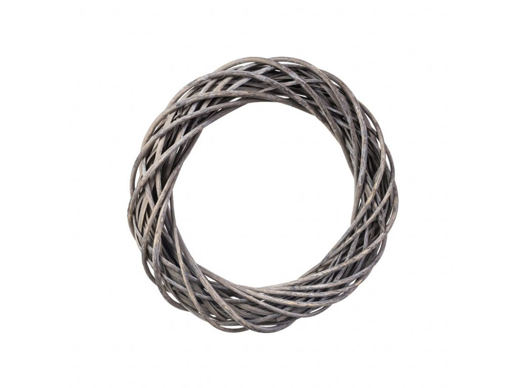 Proutěný věnec šedý 38 cm