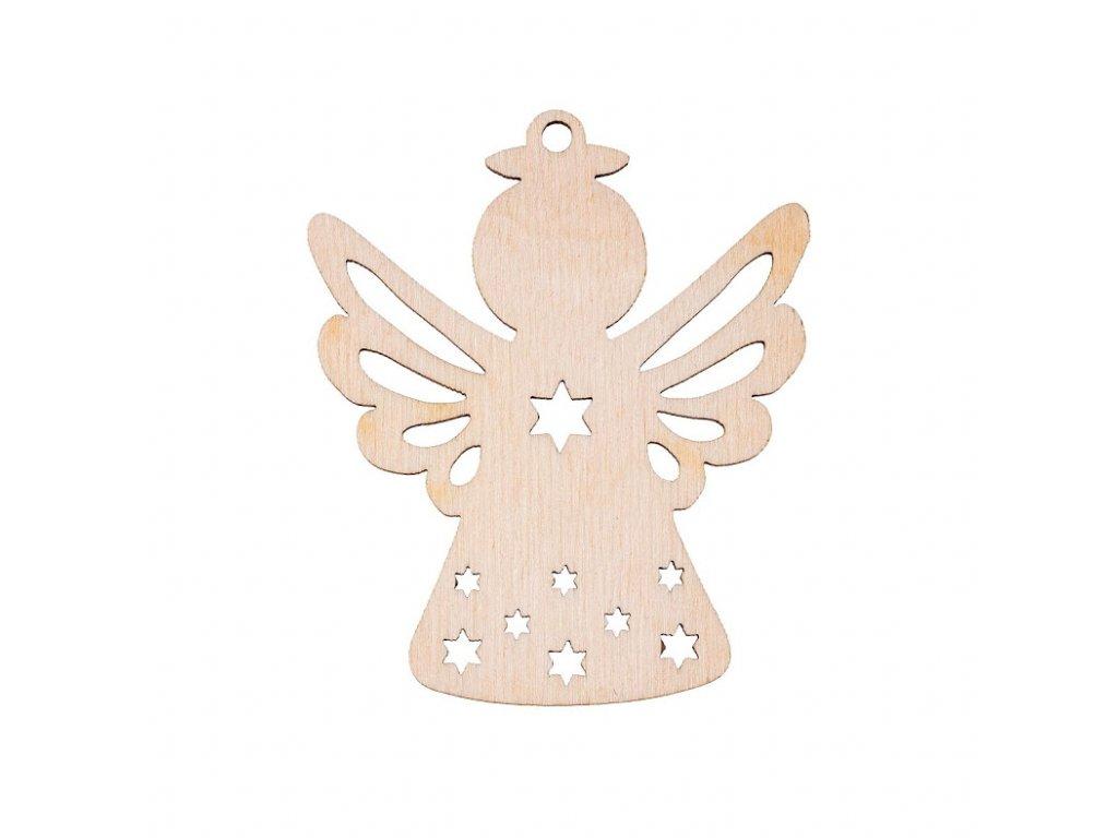 Dřevěná vánoční ozdoba - andílek I
