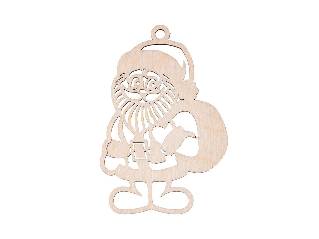 Dřevěná vánoční ozdoba - Santa