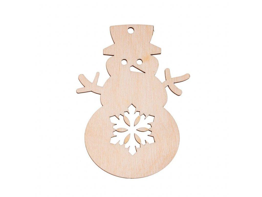 Dřevěná vánoční ozdoba - sněhulák