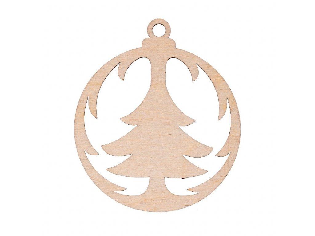 Dřevěná vánoční ozdoba - baňka se stromečkem