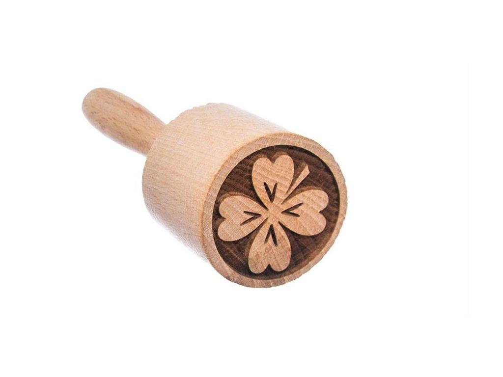 Dřevěné razítko na těsto - čtyřlístek