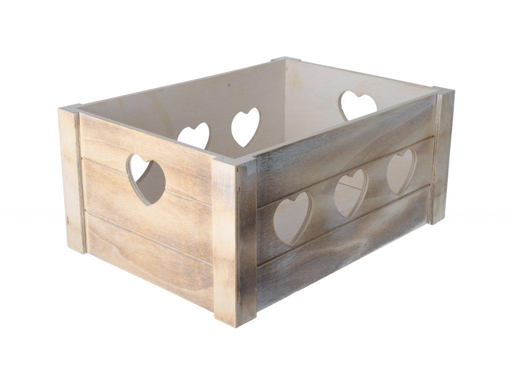Dřevěná bedýnka srdce 36x26x16 cm