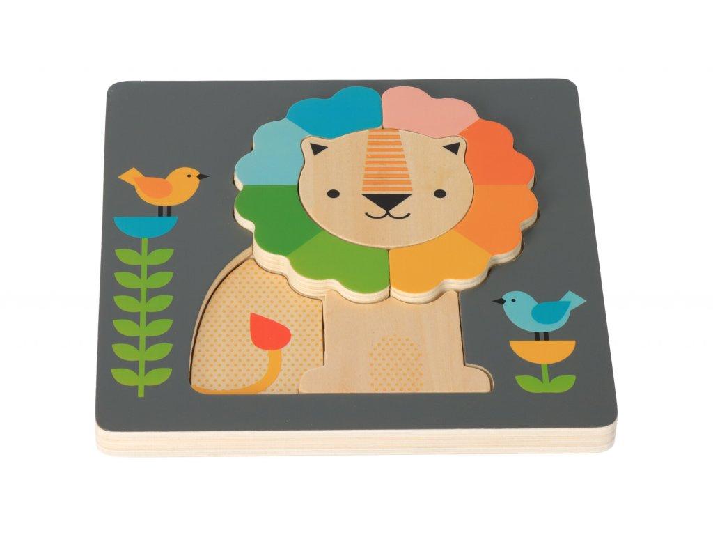 Drevené puzzle Lev