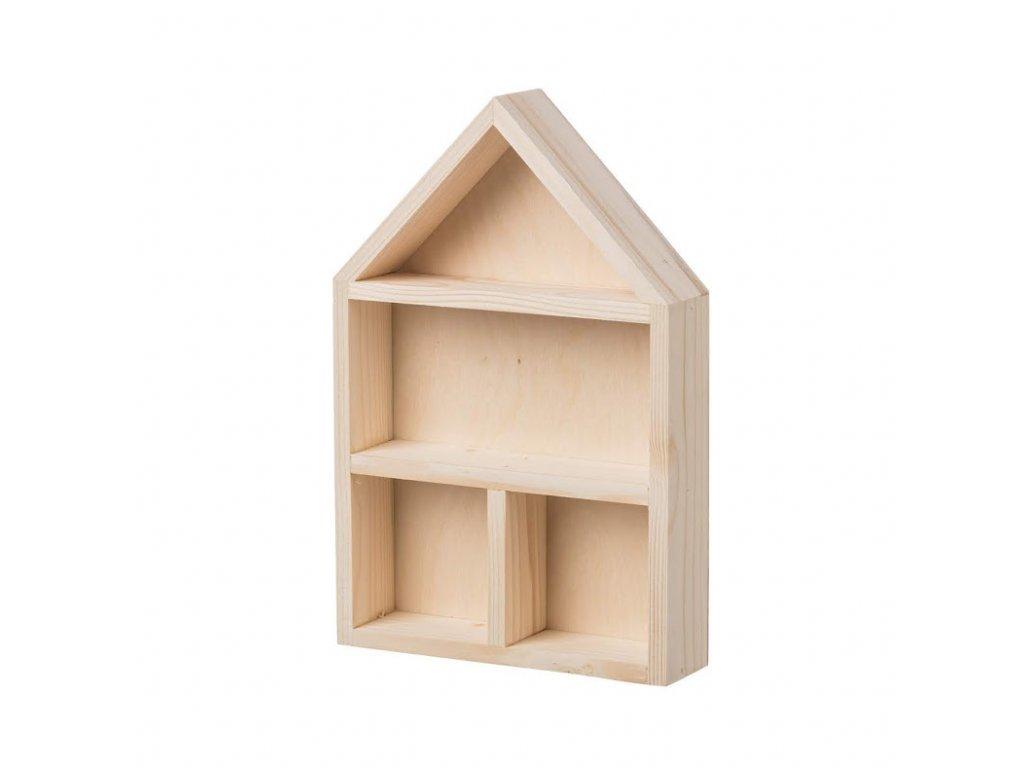 Dřevěná polička domeček s přihrádkami