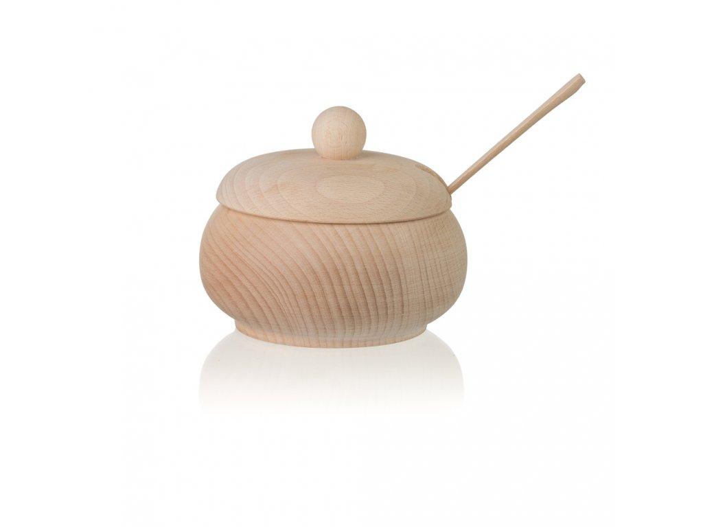 Dřevěná cukřenka se lžičkou