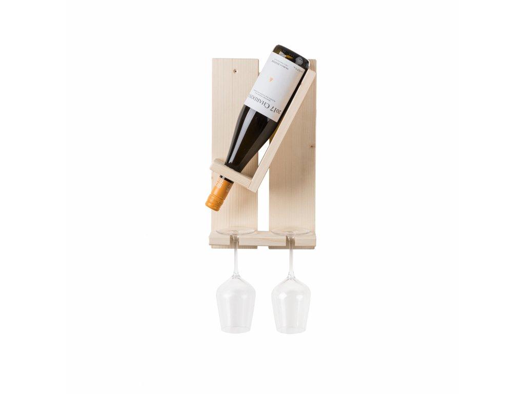 Nástěnný stojan na láhev a na dvě sklenice