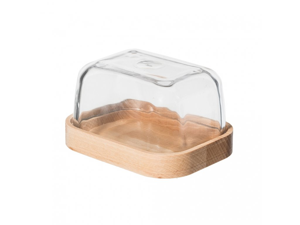 Dřevěná máslenka se skleněným poklopem