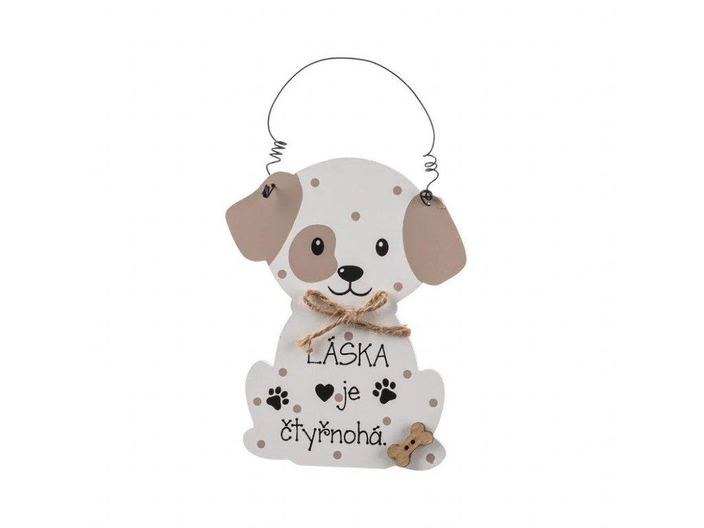 Dřevěná cedulka láska je čtyřnohá - pes