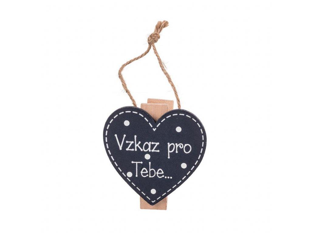 Dřevěná cedulka s magnetem a kolíčkem vzkaz pro tebe