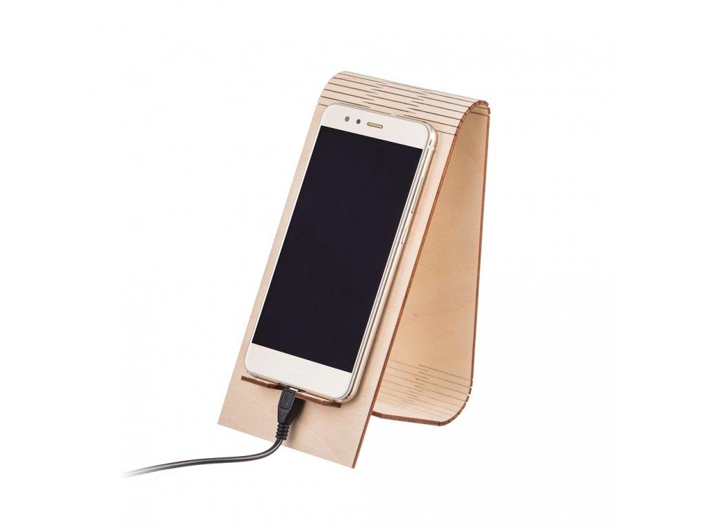 Dřevěný skládaný stojánek na mobil