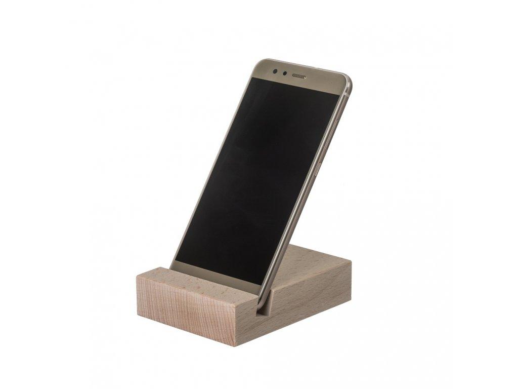 Dřevěný stojánek na mobil plochý