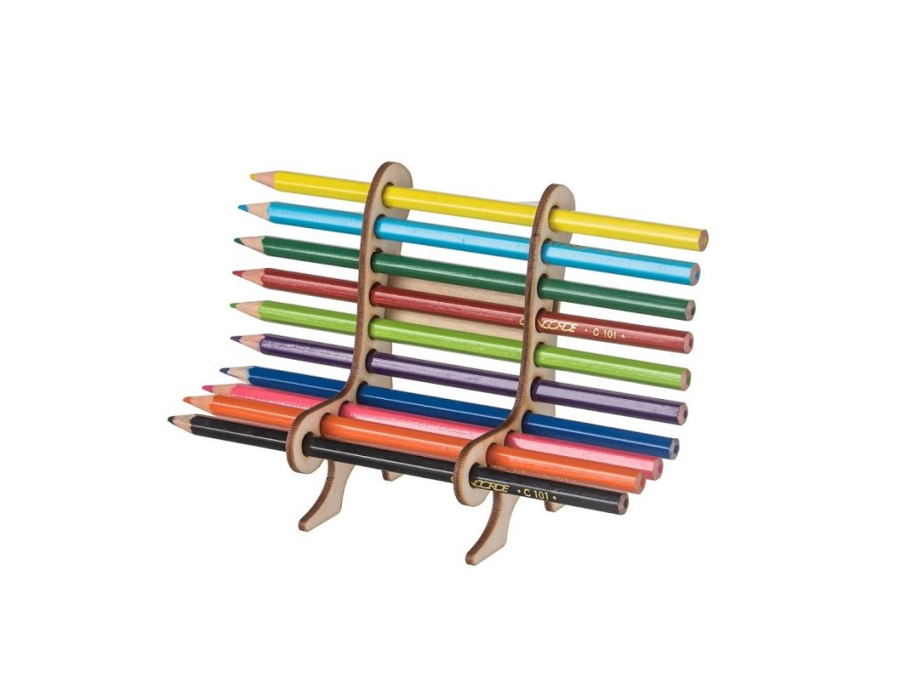 Dřevěná lavička na pastelky a tužky