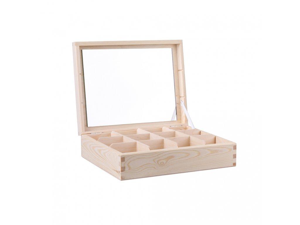 Dřevěná šperkovnice V (12 přihrádek)
