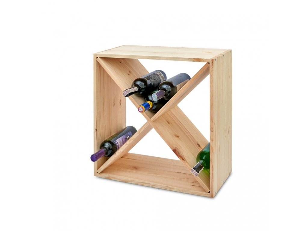 Dřevěný regál na víno kříž 52 x 52 x 25 cm - 1 ks