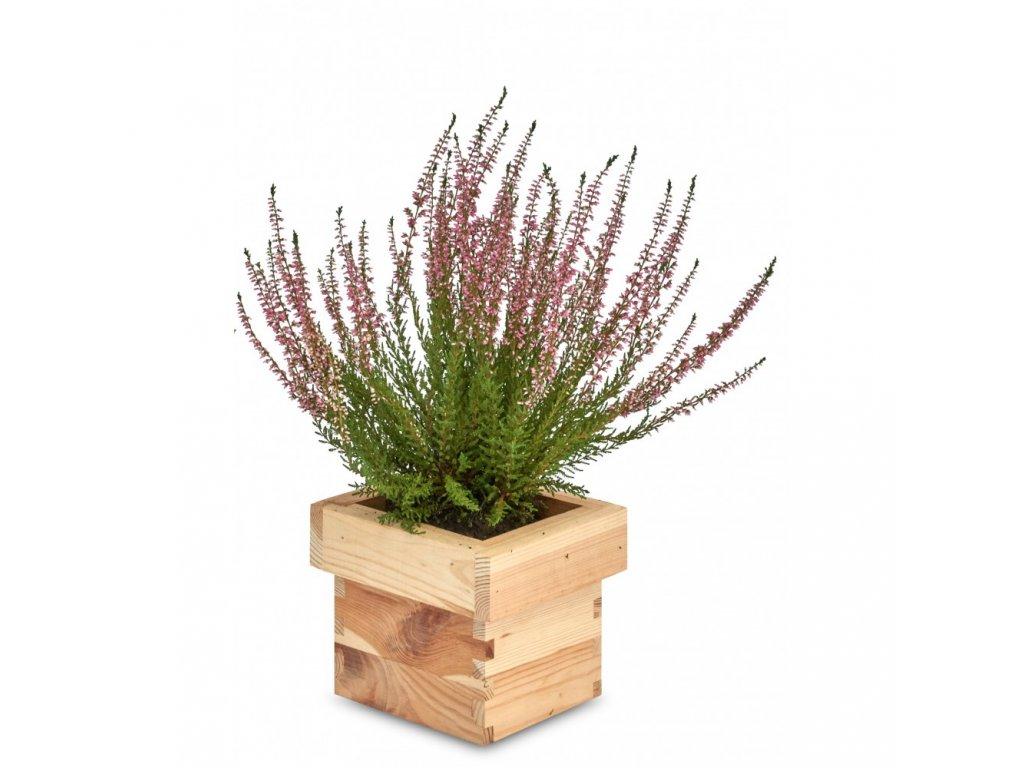 Dřevěný čtvercový květináč 14 x 14 x 12 cm