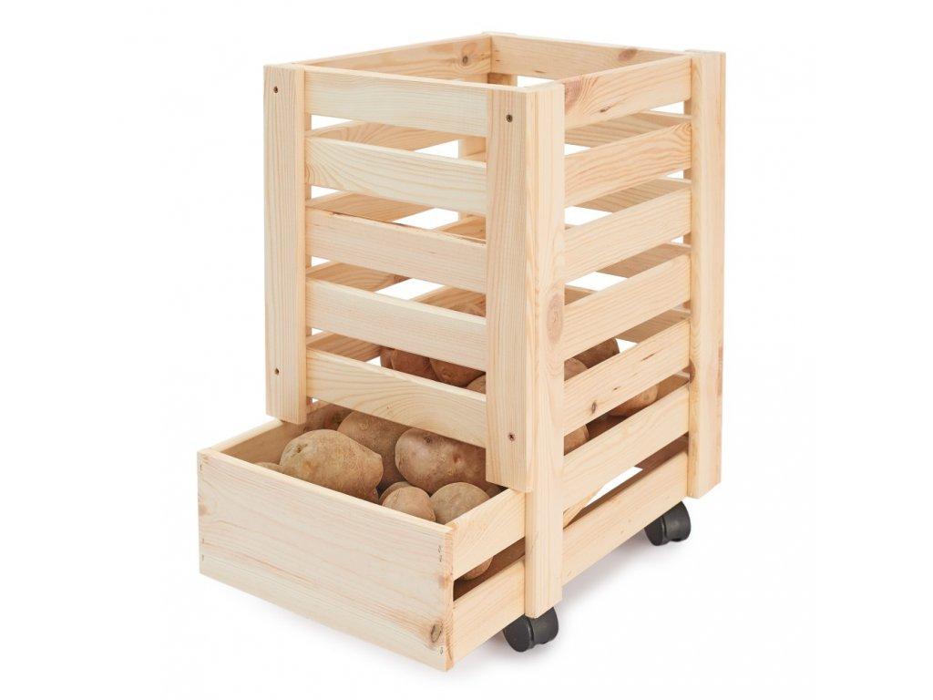 Dřevěná bedýnka na brambory 31 x 37 x 50 cm