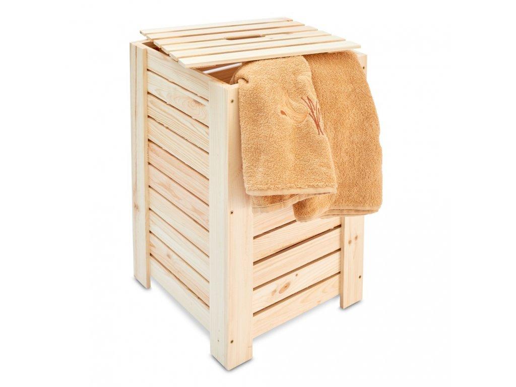 Dřevěný koš na prádlo - přírodní