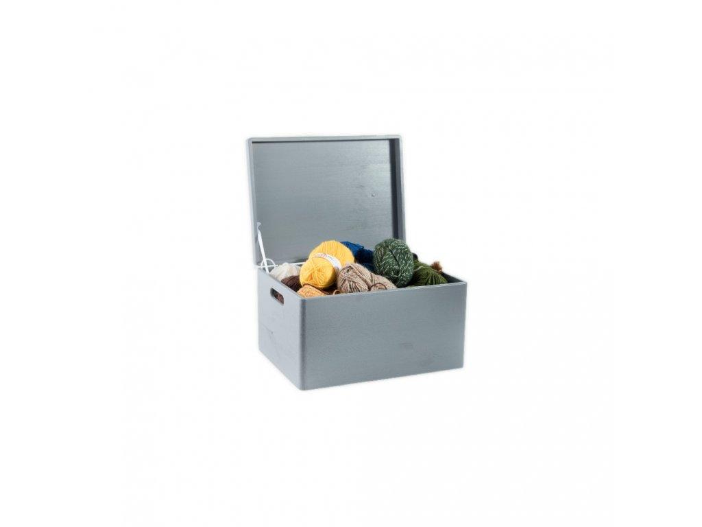 Dřevěný box s víkem 40x30x23 cm - šedý