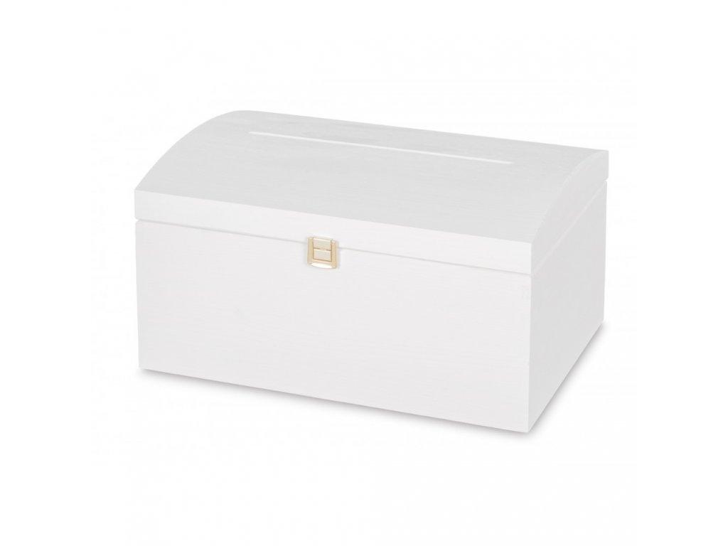 Dřevěná truhla s otvorem 35x25x18,5 cm - bílá