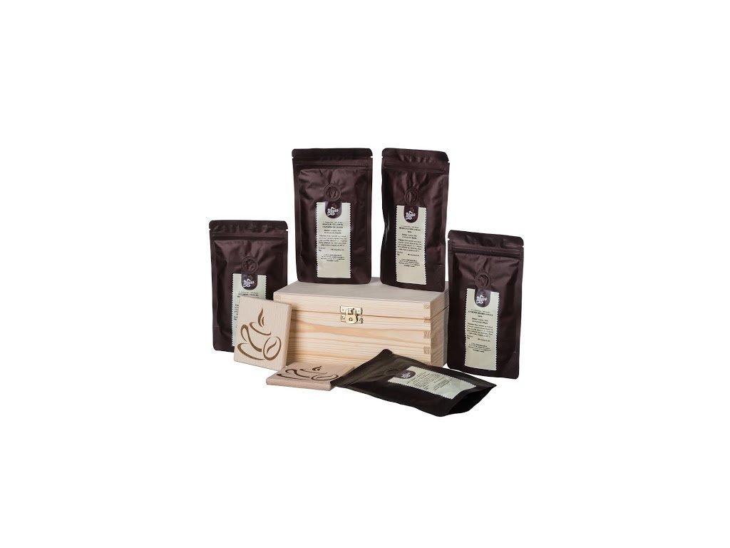 Dárková dřevěná krabička - Kávy z různých koutů světa