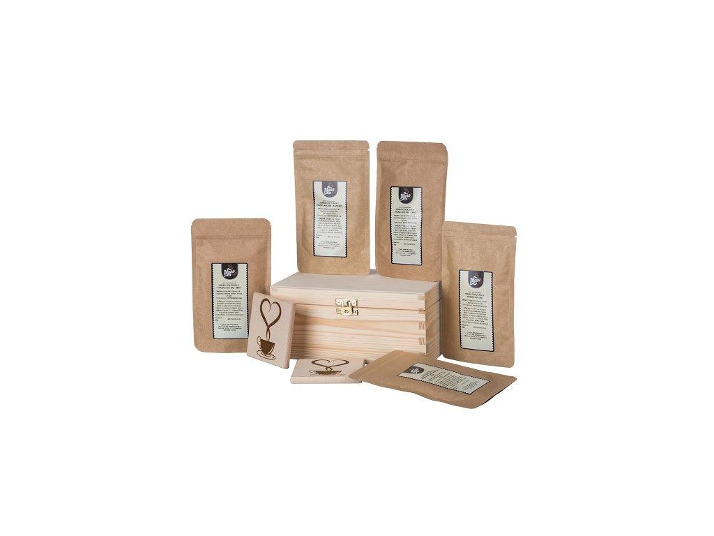 Dárková dřevěná krabička - Sada horkých čokolád