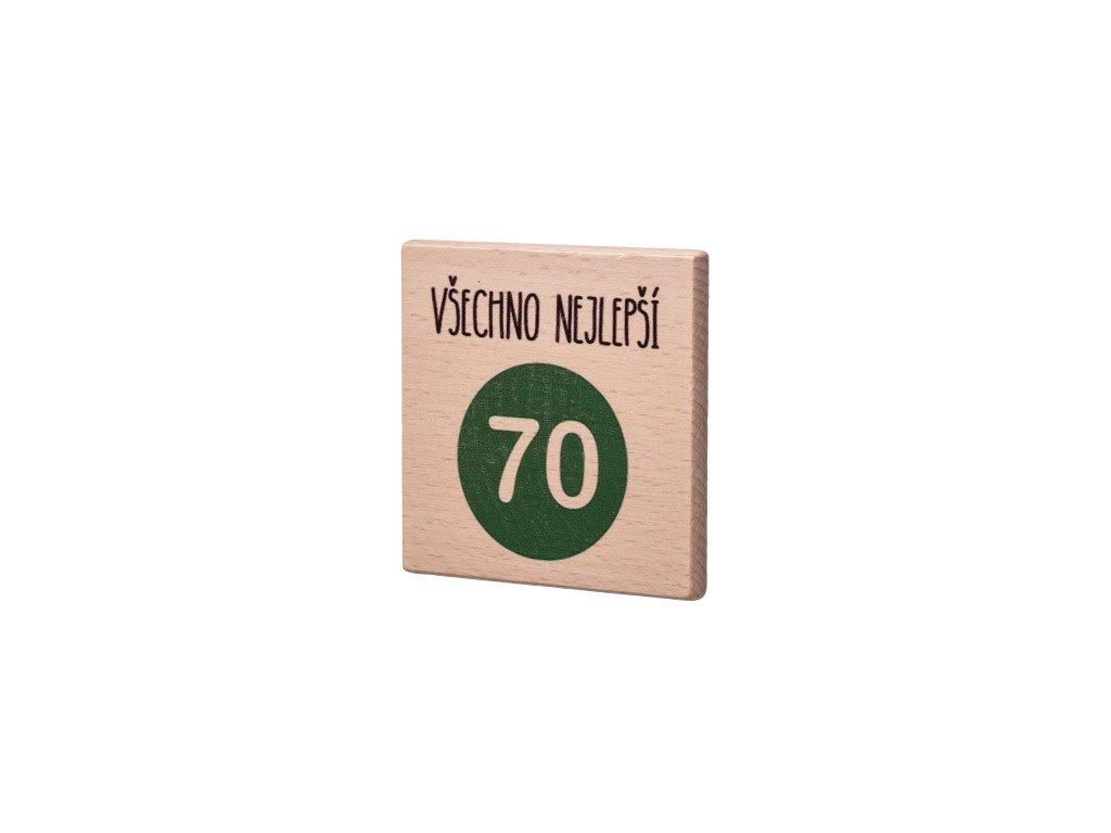 """Dřevěný podtácek """"Všechno nejlepší 70"""""""