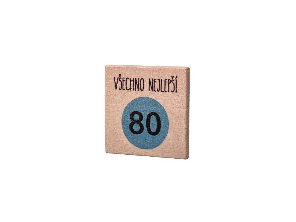 """Dřevěný podtácek """"Všechno nejlepší 80"""""""