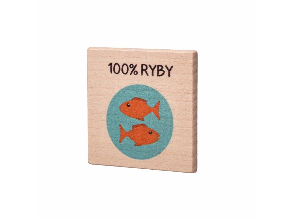 Dřevěný podtácek - 100% Ryby