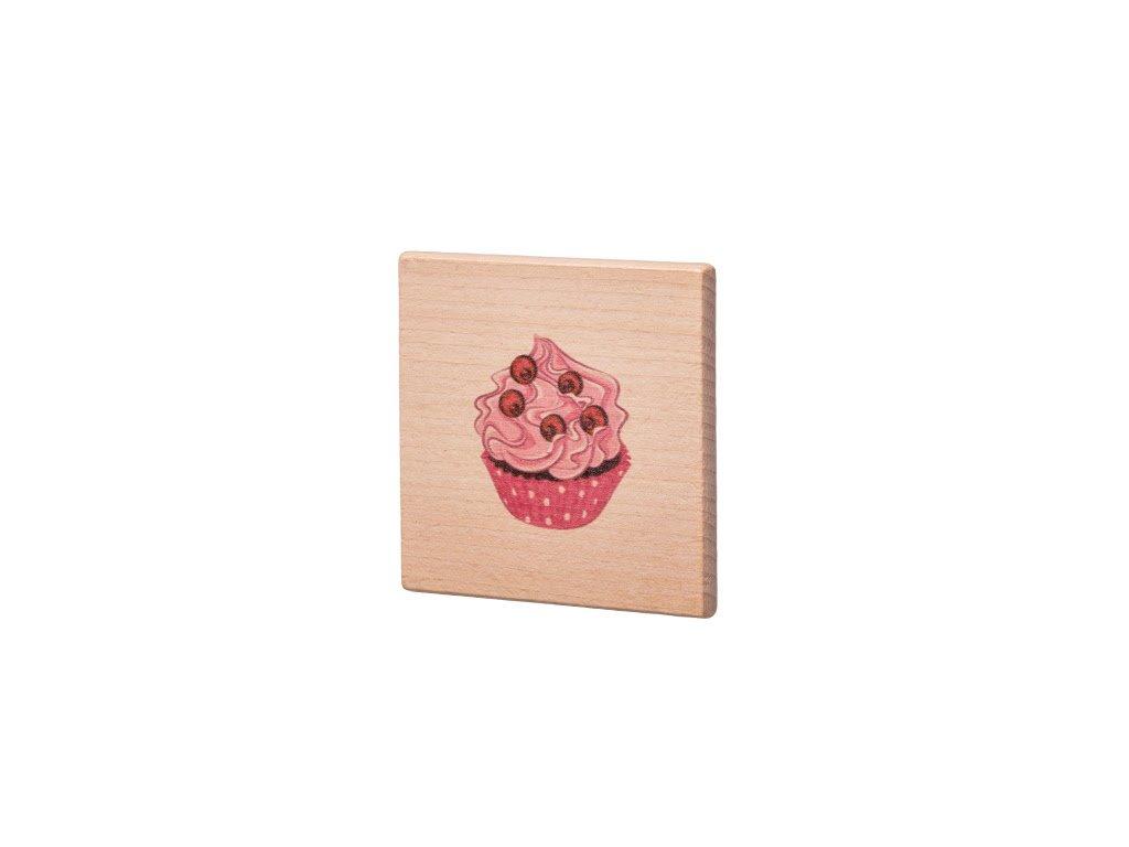 Dřevěný podtácek - Růžový muffin