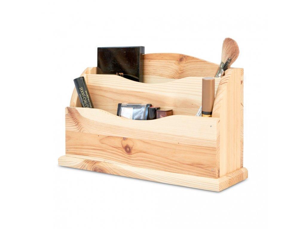 Dřevěný organizér 27x8x16,5 cm - přírodní