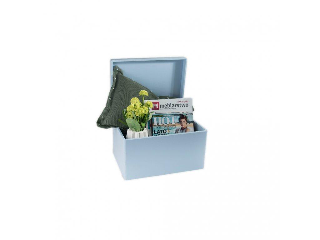 Dřevěný box bez úchytů 40cm x 30cm x 23cm - světle modrý