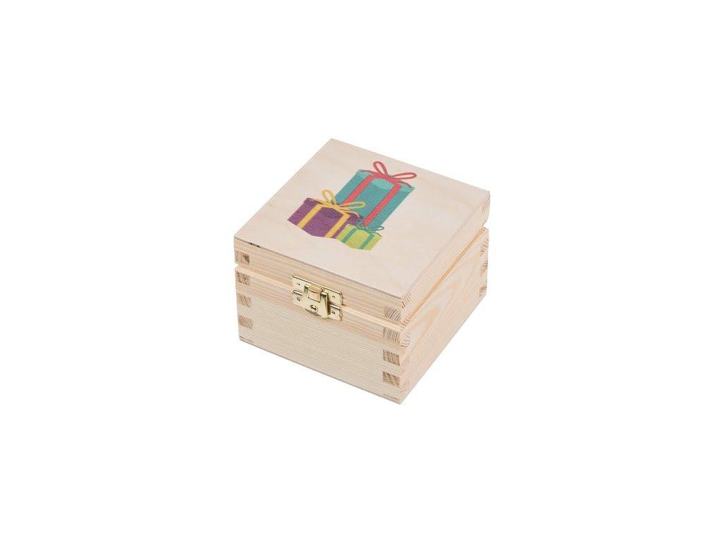 Dřevěná krabička XVI s dárky